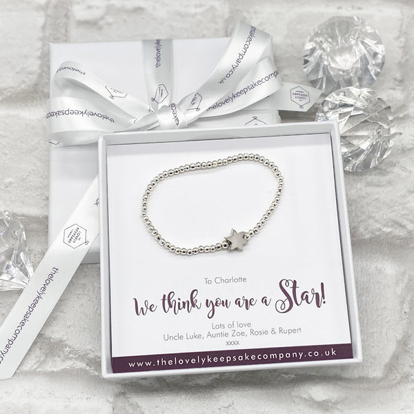 Star Bracelet Personalised Gift Box - Various Thoughtful Messages