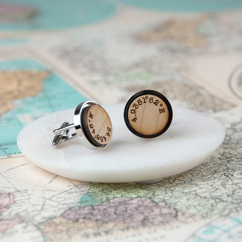 Wooden Co-ordinate Cufflinks