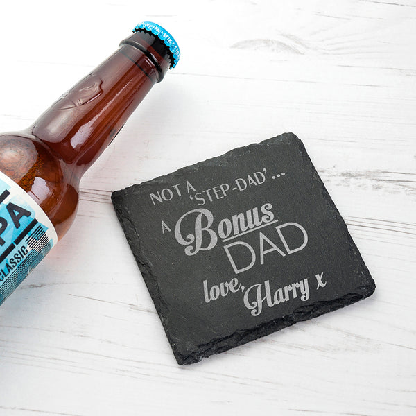 'A Bonus Dad' Square Slate Keepsake