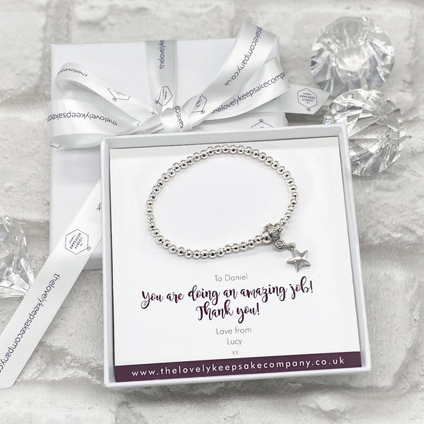 Star Charm Bracelet Personalised Gift Box - Various Thoughtful Messages