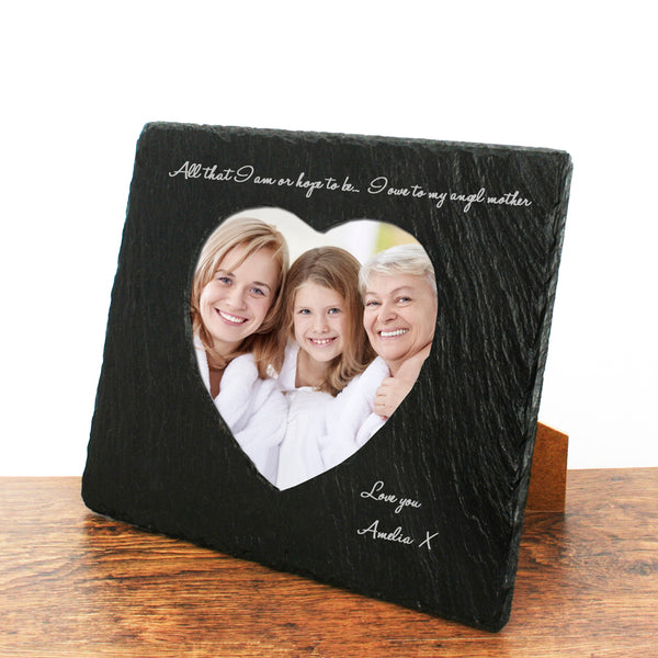 Angel Mother Heart Slate Photo Frame - Personalised