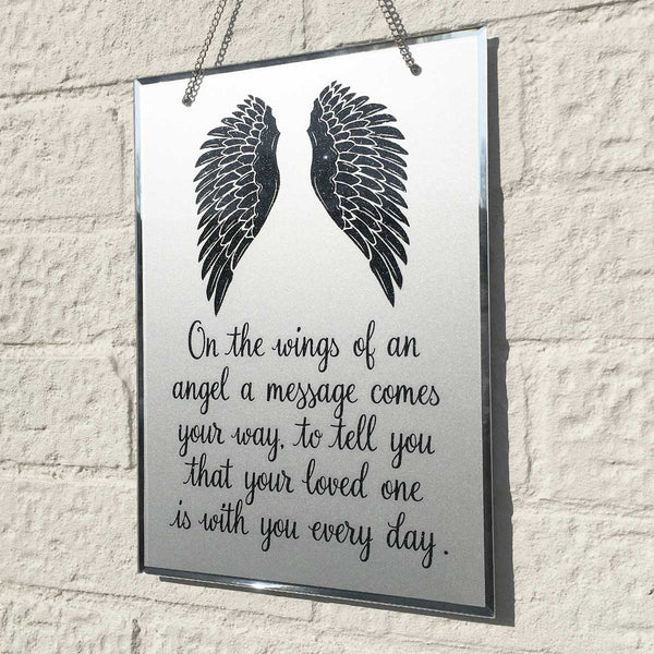 Angel Wings Mirrored Glass Hanging Plaque