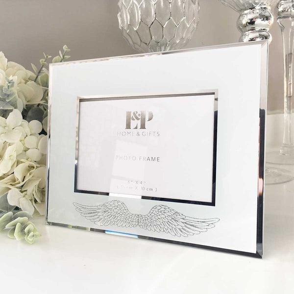 "Mirrored Glass Angel Wings 6 x 4"" Photo Frame"