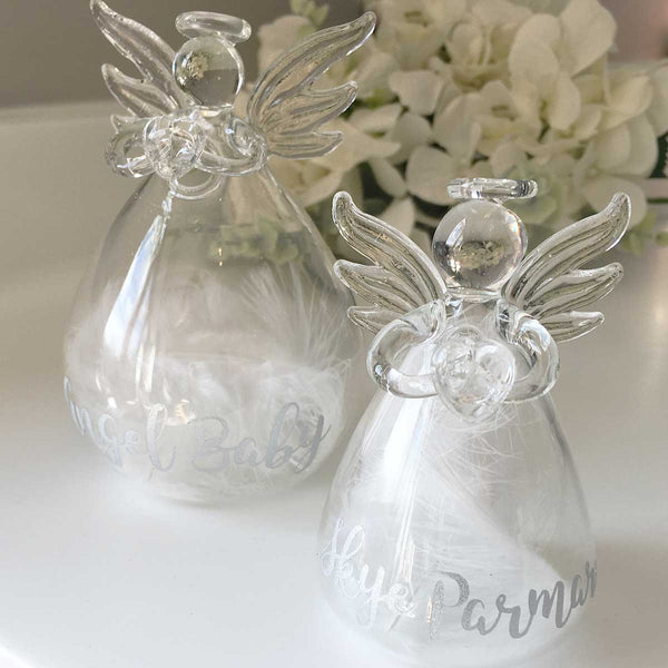 Feather Filled Glass Memorial Angel Ornament/Vase