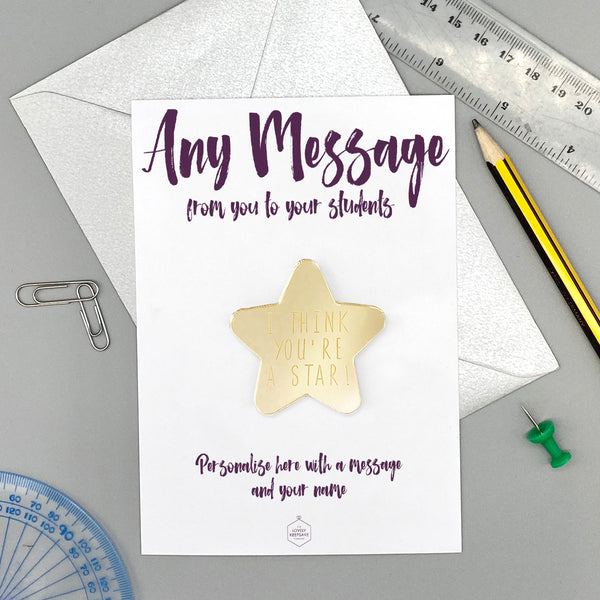 Personalise With Any Message Magnet Gold Mirror Star Card