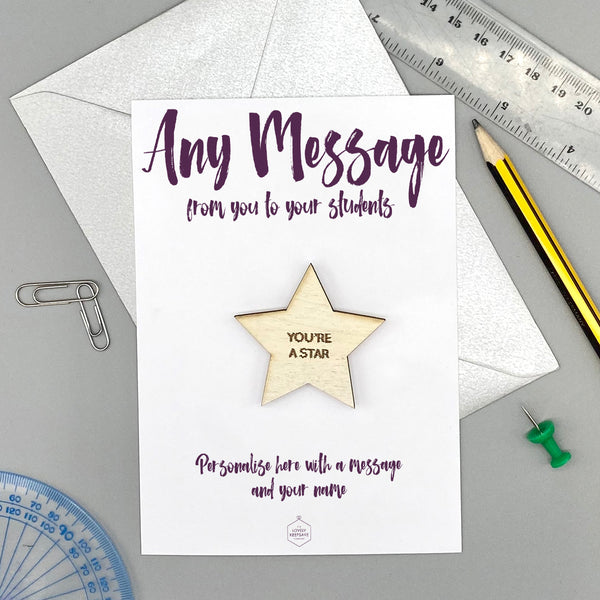 Personalise With Any Message Magnet Wooden Star Card