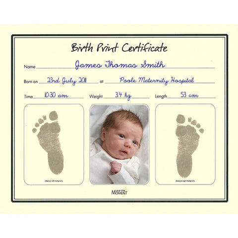 Birth Certificate with Inkless Print Kit