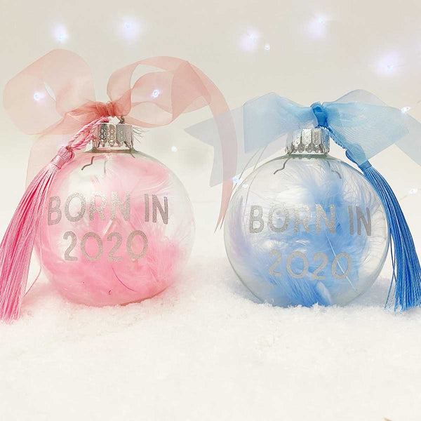 Personalised 'Born in' Pink Blue or White Feather Filled Glass Bauble