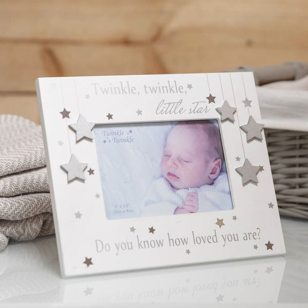 "Twinkle Twinkle ""Do you know how loved you are"" Silver Star Baby Frame"