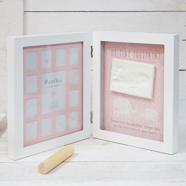 Baby's First 12 Months Footprint Imprint Frame - Pink