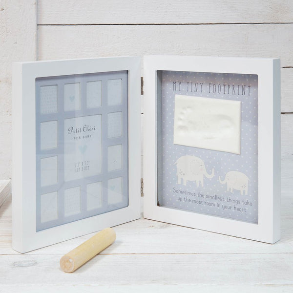 Baby's First 12 Months Footprint Imprint Frame - Blue