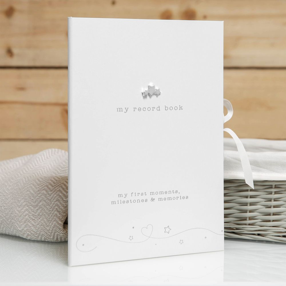 Twinkle Twinkle White Faux Leather Baby Record Book