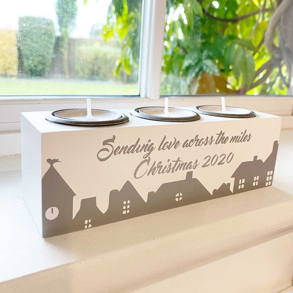 'Across The Miles Christmas 2020' Triple Tealight Holder with FREE tealights