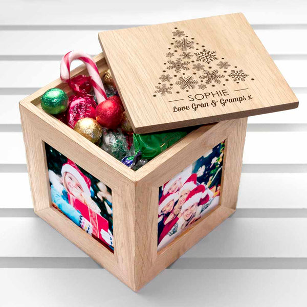 Personalised Christmas Photo Cube Filled With Festive Treats