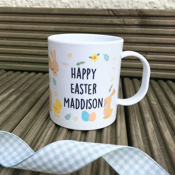 Personalised Plastic Mug - Easter Bunny & Chick