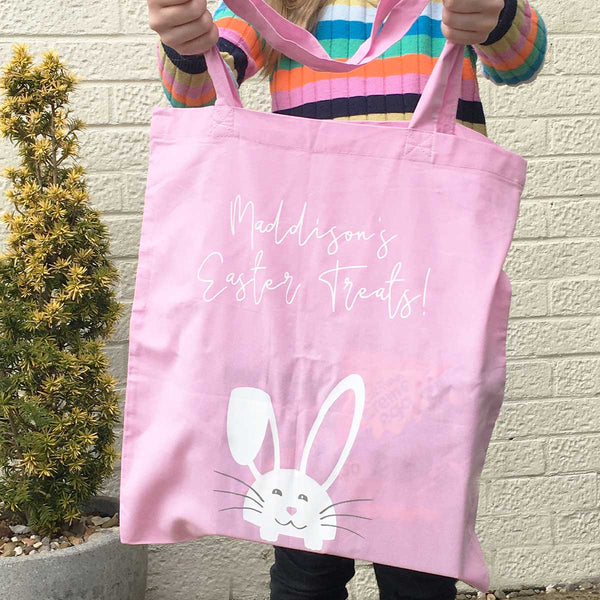 Personalised Bunny Easter Treats Tote Bag (Pink, Blue, Jade Green)