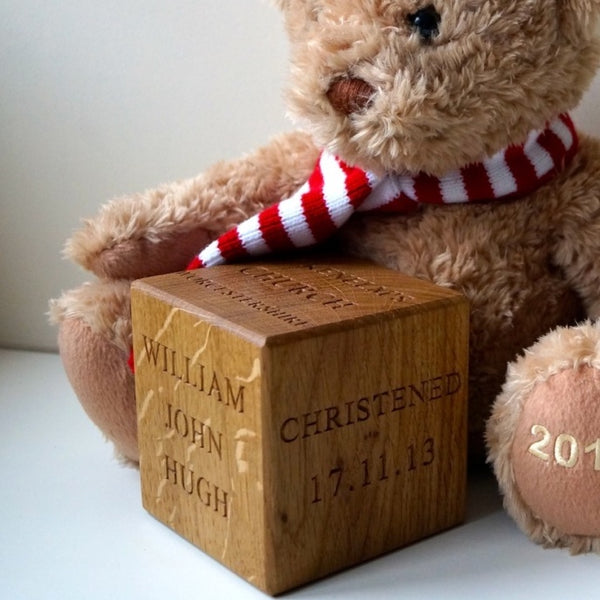 Personalised Solid Wood Christening/Naming Day Block