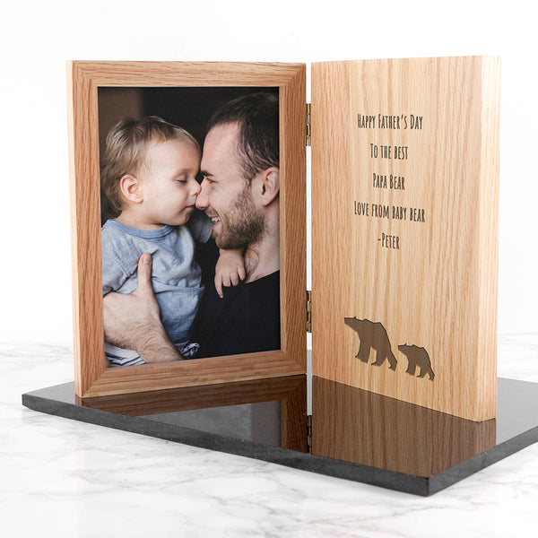 Engraved Papa Bear Book Photo Frame with Personalised Message
