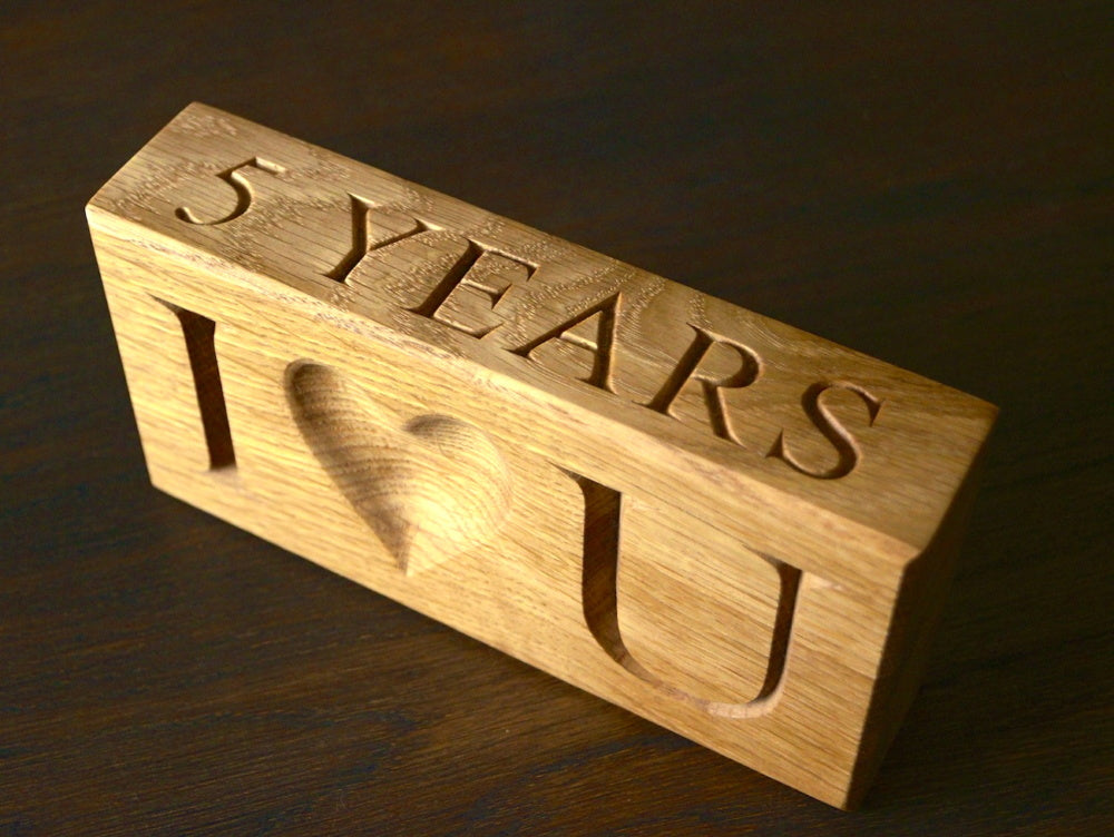 Personalised Solid Wood 'I Love You' Paper Weights
