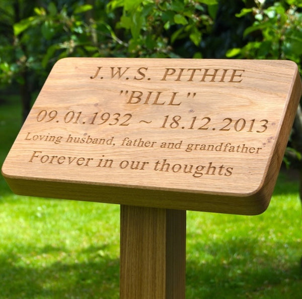 Engraved Solid Wooden Grave Marker
