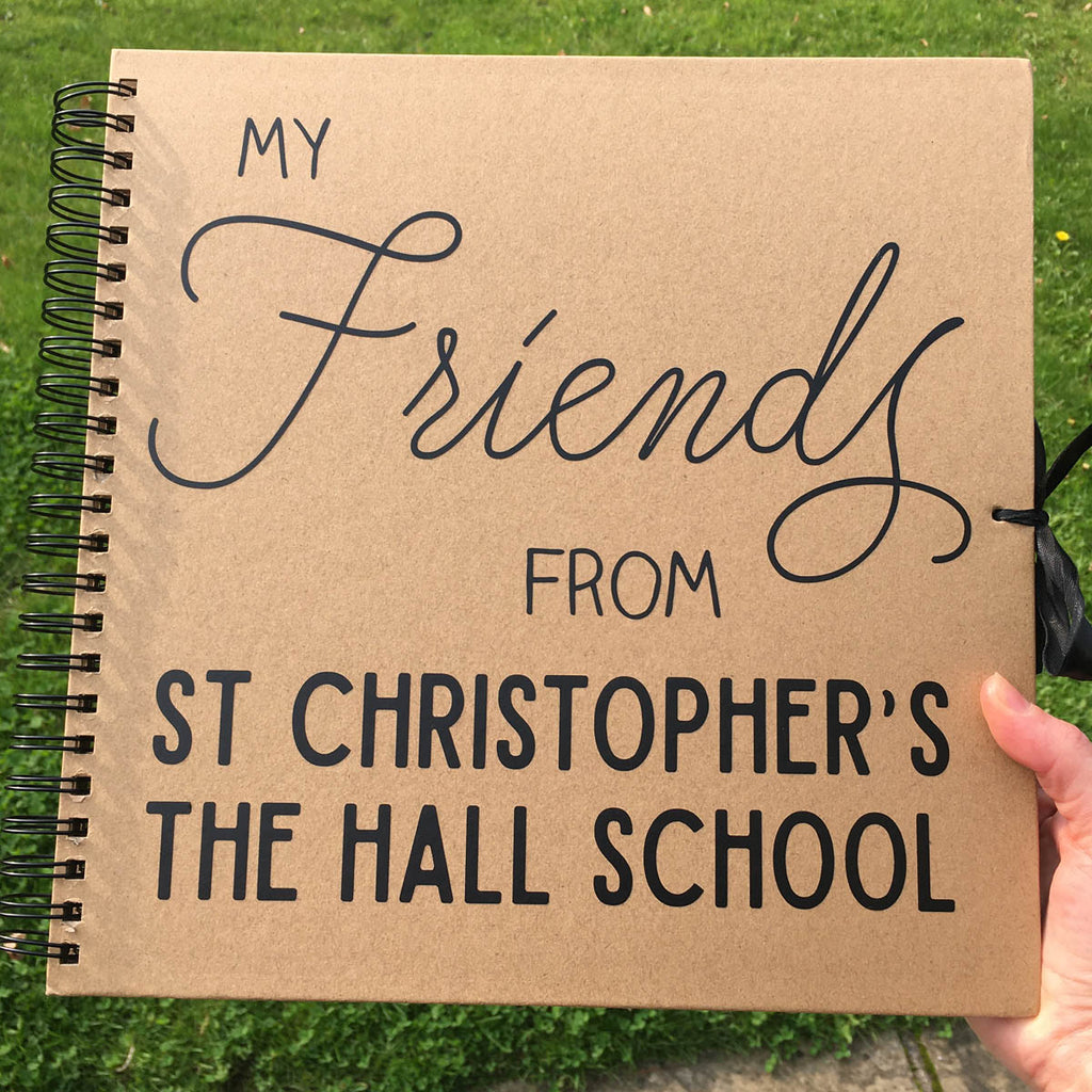 Personalised School Friends Scrapbook (Kraft, Black, White)