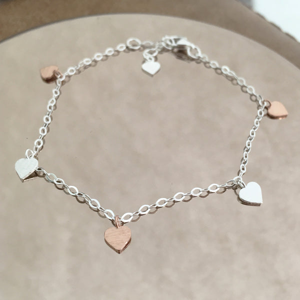 Sterling Silver Hearts Bracelet Create Your Own Personalised Gift Box