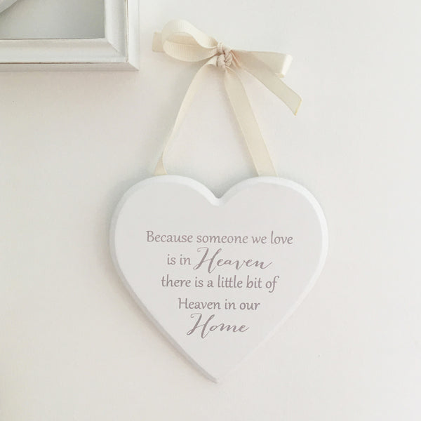 A Little Bit Of Heaven In Our Home Hanging Heart Sign