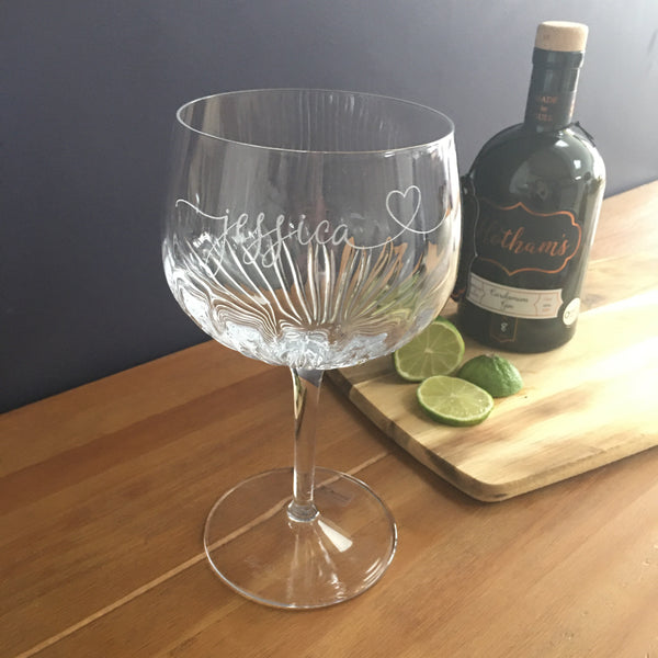 Personalised Crystal Cut Name & Heart Gin Glass
