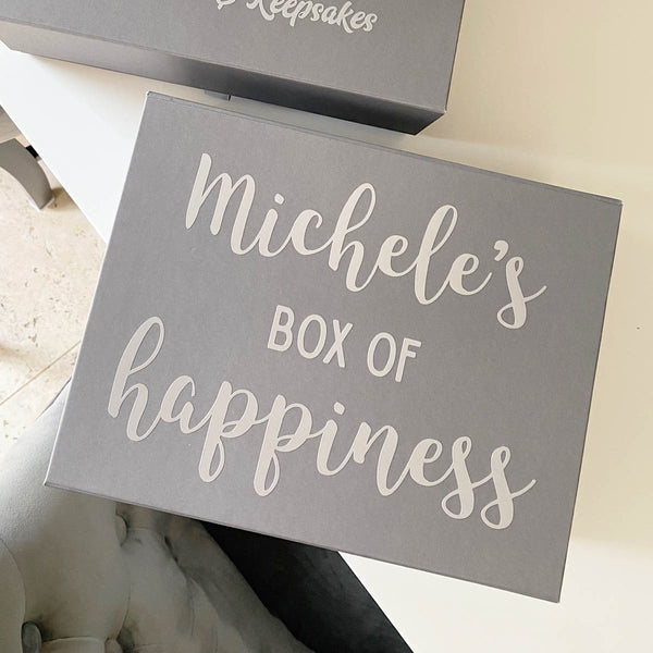 Personalised 'Box of Happiness' Keepsake Box (White, Black, Grey)