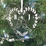 Personalised Love Birds Couples Acrylic Christmas Decoration