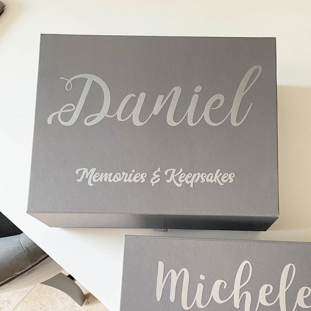 Personalised Memory Keepsake Box (White, Grey)