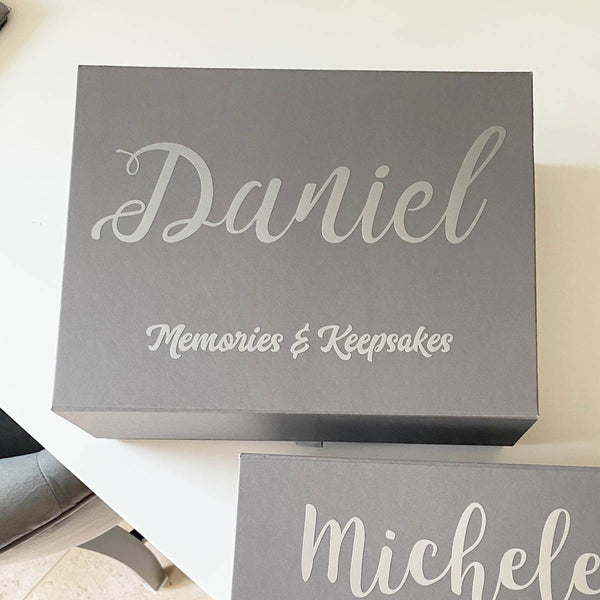Personalised Memory Keepsake Box (White, Black, Grey)