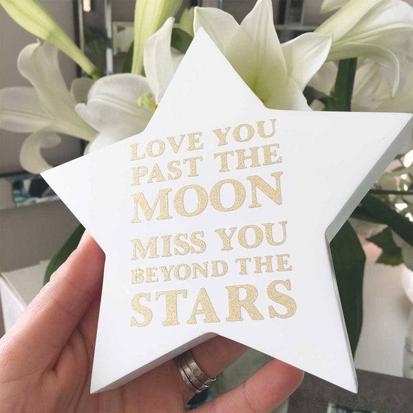 'Miss You Beyond The Stars' Wooden Freestanding Memorial Star