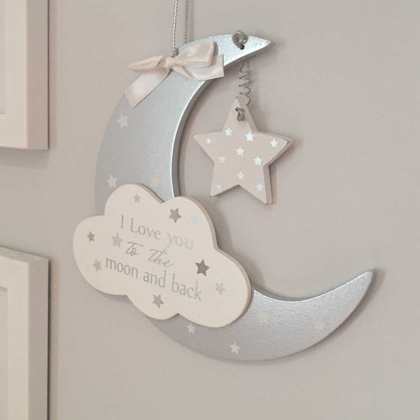 Love You To The Moon & Back Grey/White Hanging Sign