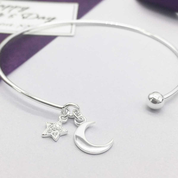 Sterling Silver Love You To The Moon & Stars Bangle - Happy Mother's Day