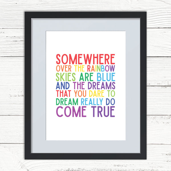 Somewhere Over the Rainbow Word Print