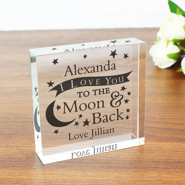 Personalised I Love You To the Moon and Back... Crystal Token