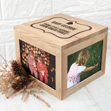 Personalised Little Acorns Large Photo Cube Keepsake Box