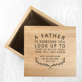 Personalised 'A Father Is...' Oak Photo Keepsake Box