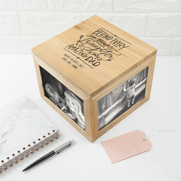 Personalised Truly Amazing Dad Oak Photo Box