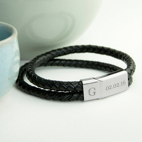 Personalised Men's Woven Double Band Leather Bracelet in Black