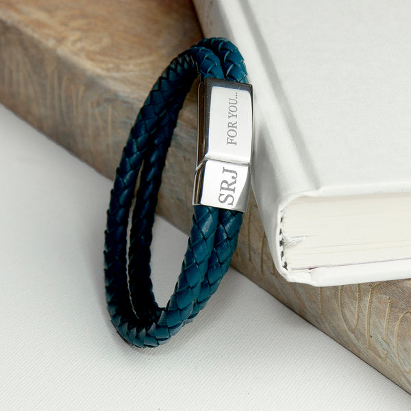 Personalised Men's Woven Double Band Leather Bracelet in Teal