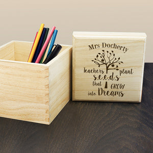 You added Personalised 'Teachers Plant Seeds...' Wooden Cube Box to your cart.