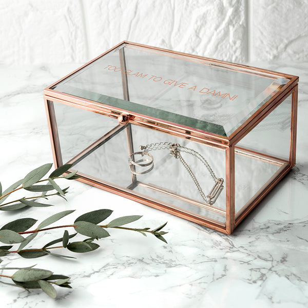 Personalised Rose Gold Glass Jewellery Box for Mum