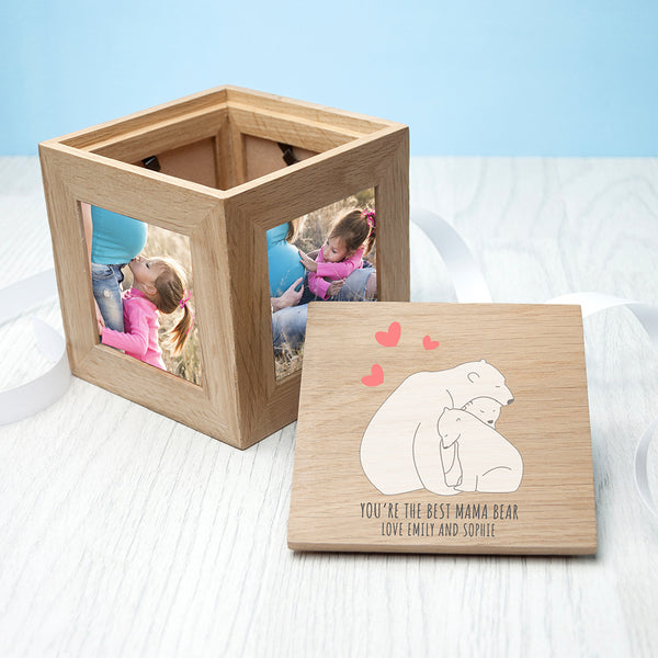 Personalised 'The Best Mama Bear' Small Oak Photocube Keepsake Box