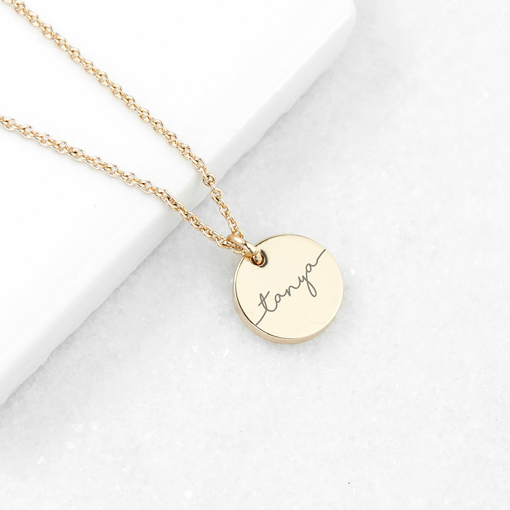 Personalised Disc Necklace (Gold, Silver, Rose Gold)