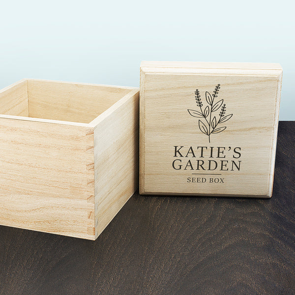 Engraved Personalised Seeds Box