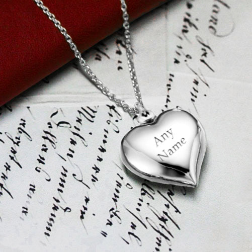 Sterling Silver Personalised Cherish Heart Necklace