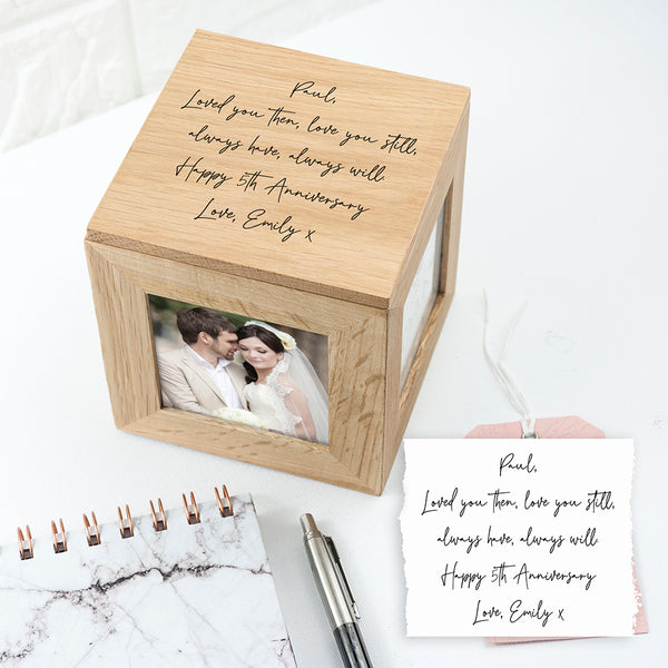 Personalised Handwriting Oak Photocube Keepsake Box