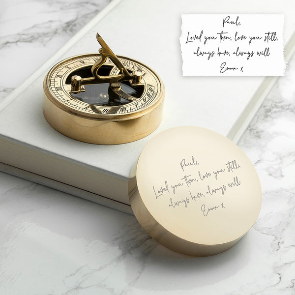 Sundial Compass Personalised with Handwriting